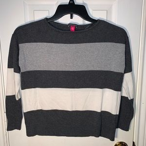Vince Camuto Crop 3/4 Sleeve Striped Gray Sweater